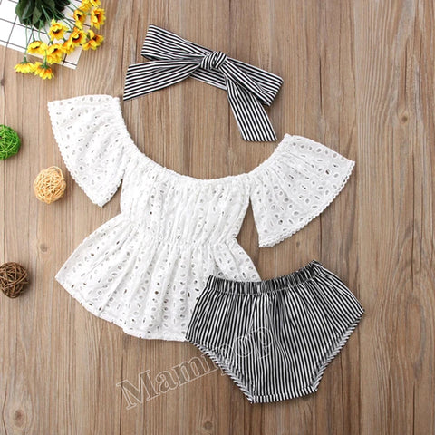 Baby Girl Lace Off Shoulder Top Stripe Shorts Outfits Clothes