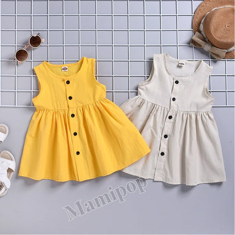 Baby Kids Girls Breathable Sleeveless Cardigan Dress Vestidos Clothes
