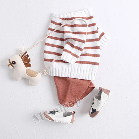 Boys and Girls' Suit Stripe Long Sleeve Top  Shorts Two-Piece Set