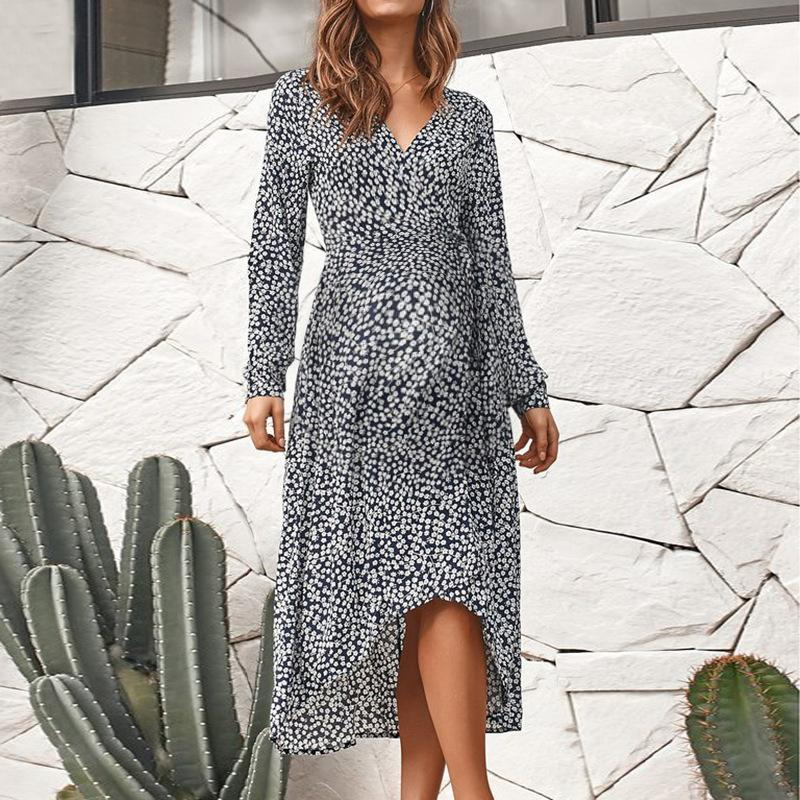 Maternity European And American V-Neck Floral Print Long-Sleeved Dress