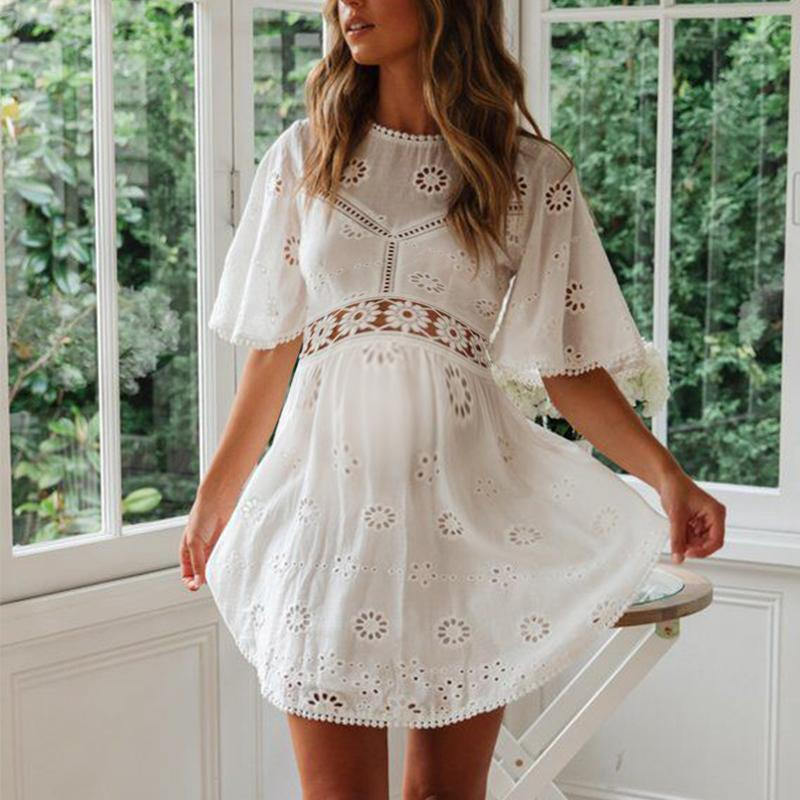 Maternity O-Neck Lace Patchwork Casual Dress