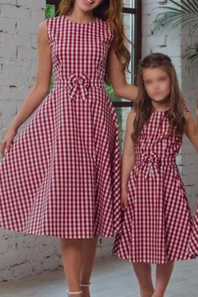 Casual Bowknot Check Round Collar Parent-child Dress