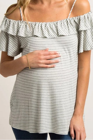 Casual Pregnant Striped Ruffle Sleeve T-Shirt Maternity Tops