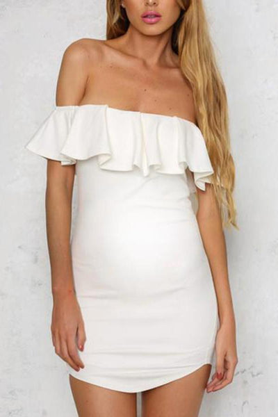 Maternity Solid Color Ruffled Collar Bodycon Dress