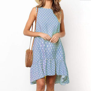 Maternity Loose  Sleeveless Polka Dot O-Neck Dress