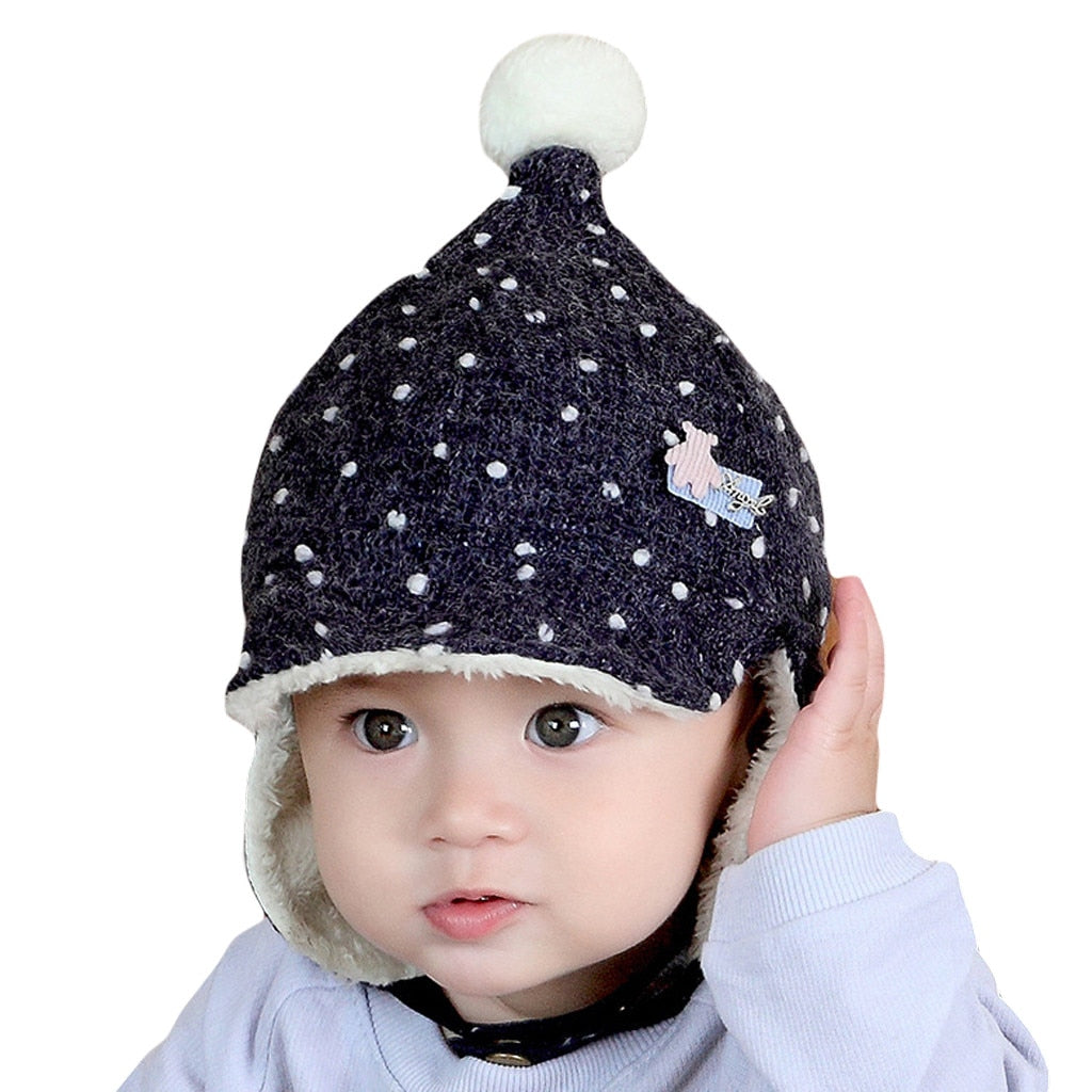 Earmuffs Hat Toddler Kids Girl Boy Baby Infant Winter Warm Cute Hair Ball Hat