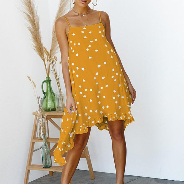 Maternity Chiffon Polka Dots Spaghetti Strap Dress