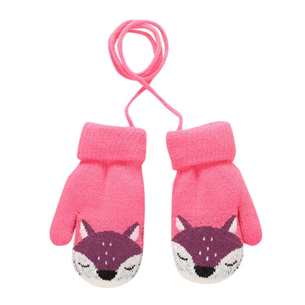 Fashion kids gloves Children Kid Mittens Winter warm Knitted Rope Gloves Printed Full Finger Gloves