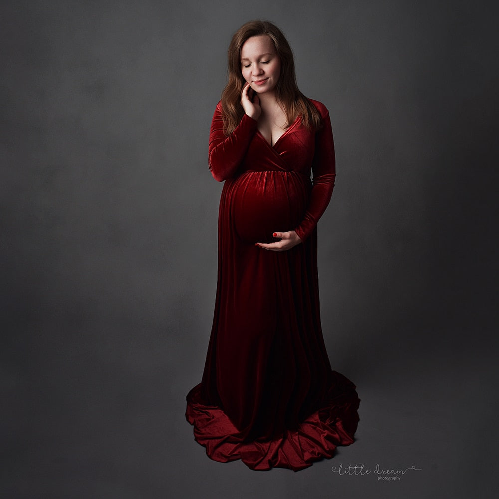 Velvet Maternity Dress For Photo Shoot