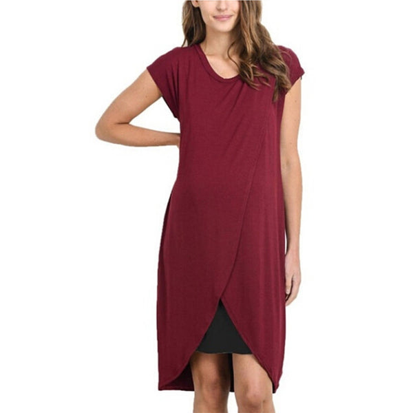 Tunic Casual Solid Vest Nursing Feeding Maternity  Dress