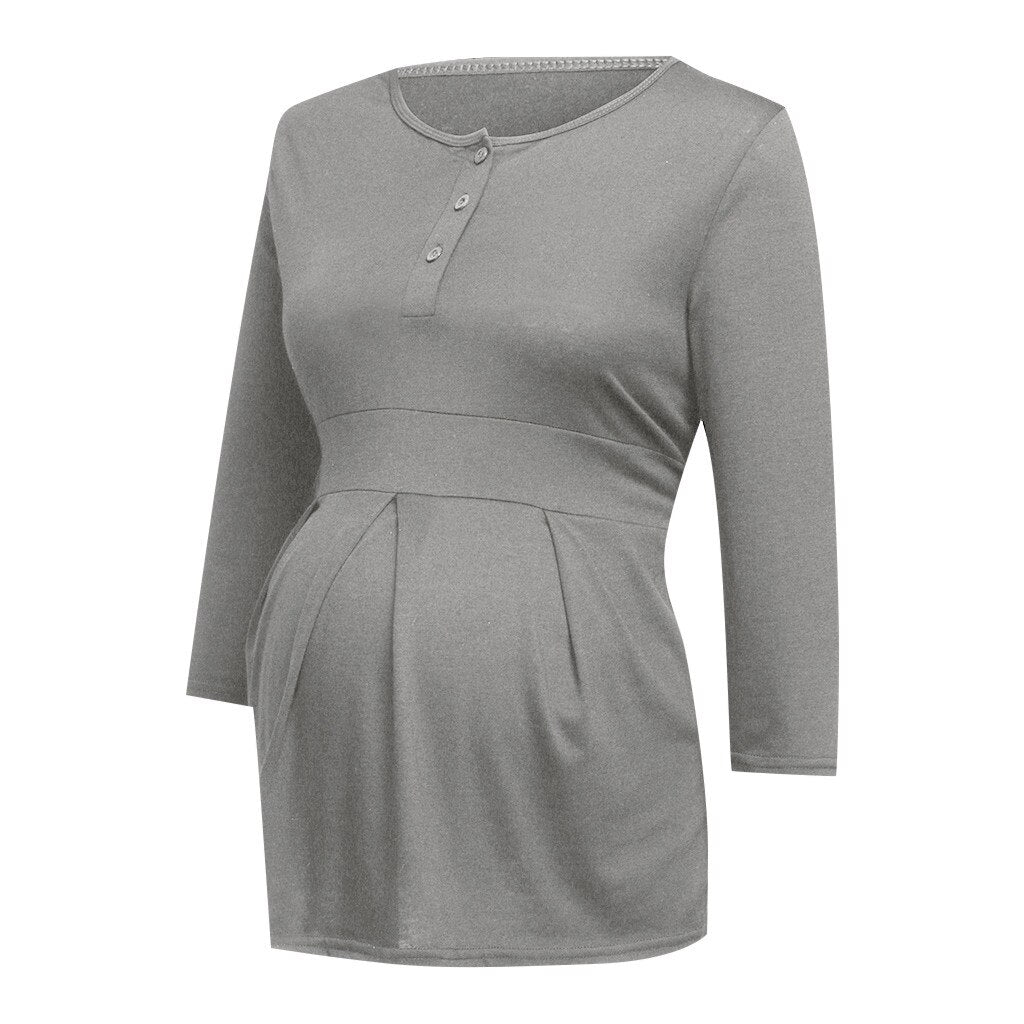 Maternity Clothes Nursing Long Sleeve Solid Tops