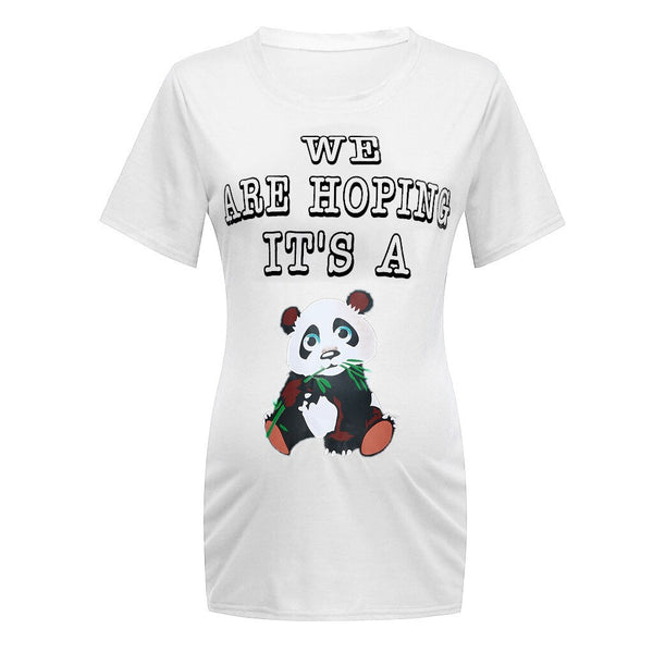 Cartoon Panda Print Elegant Maternity Tops