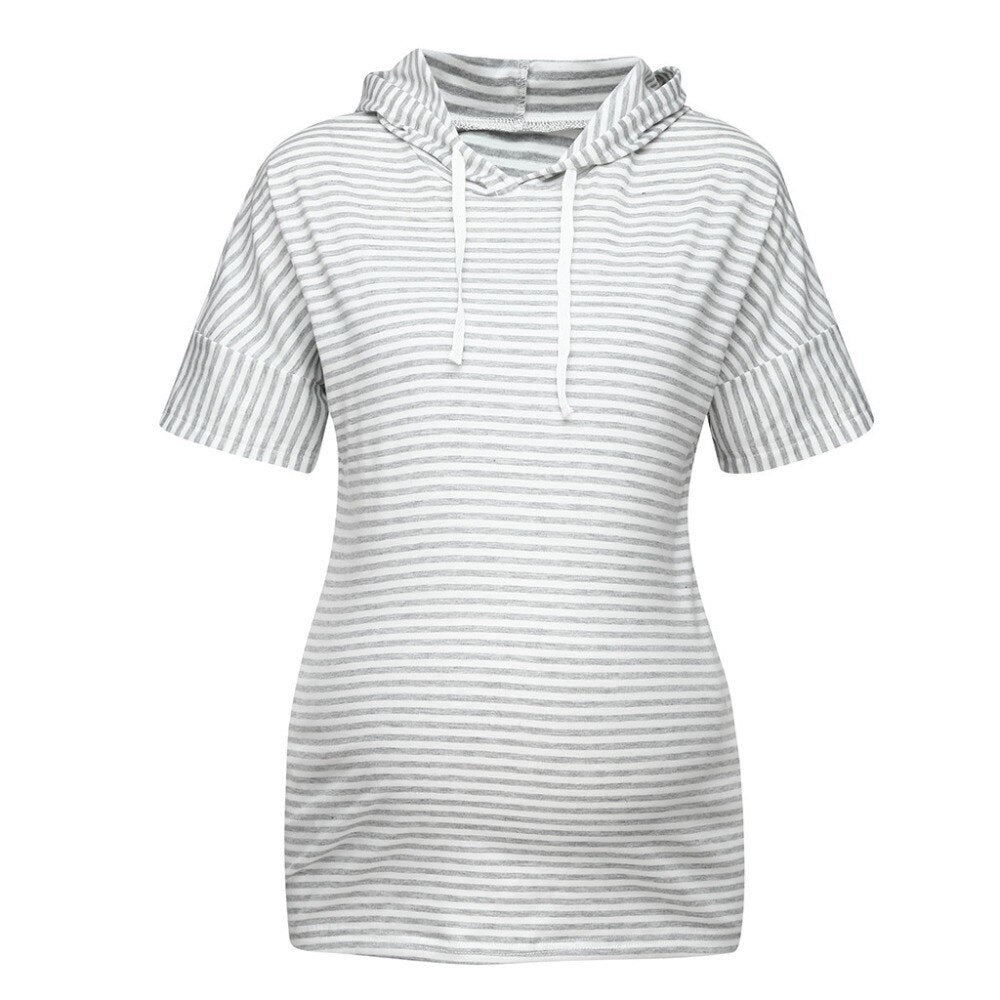 New Arrivals Striped Maternity Tops Short Sleeve Hooded