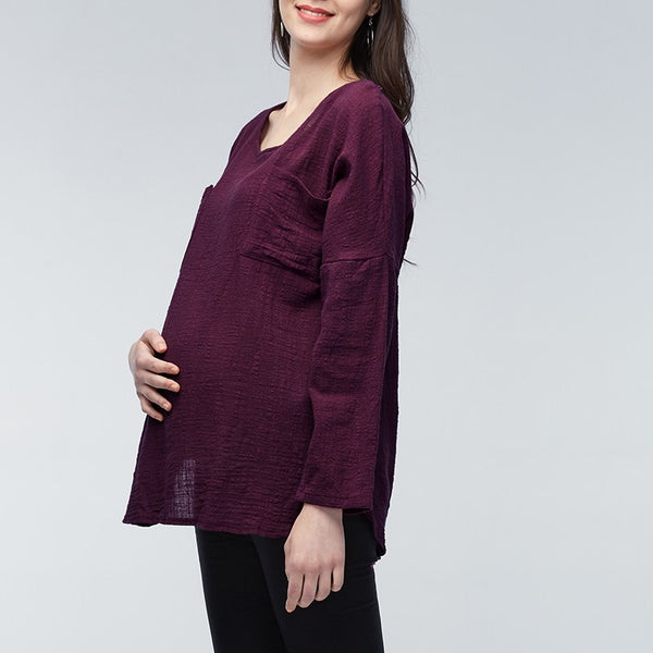 Solid coloer casual maternity  tops