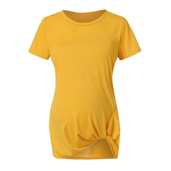Pleated Knot-tie Vogue Pregnant T-Shirt Cotton Maternity Tshirt