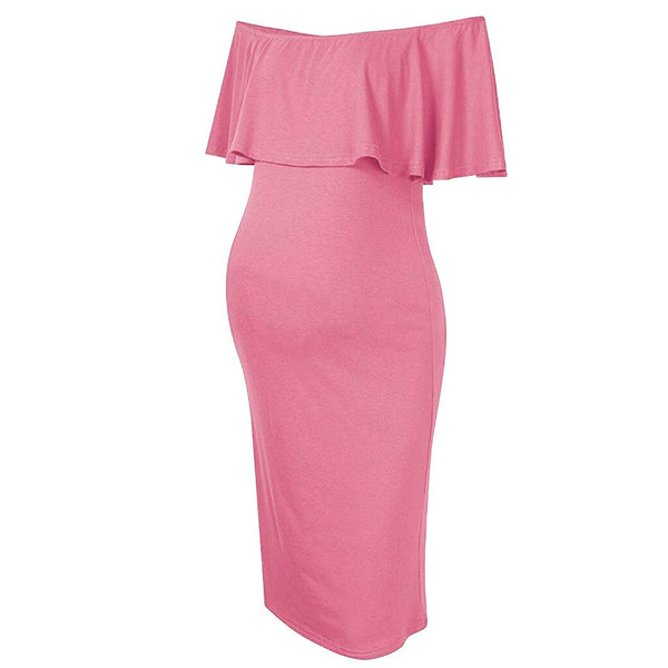 Summer Women's Breastfeeding Off Shoulder Ruffles Pink Solid Nursing Dress