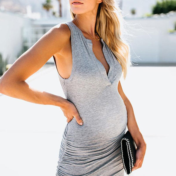 Fashion Maternity Plain Sleeveless Deep V Long Dress Clothing