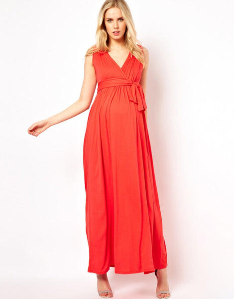 Maternity Women Dress Summer Sleeveless Sexy V-neck Ankle Length Dress