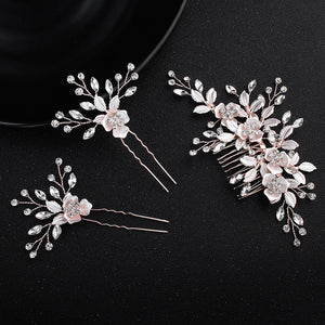 Handmade Rose Gold Crystal Hair Comb Bride Wedding Hair Accessories Hair Jewelry