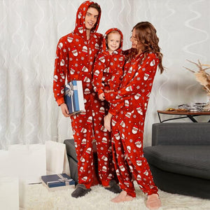Family Christmas Pajamas Party Daddy Mommy and Me Santa Printed Soft Jumpsuit