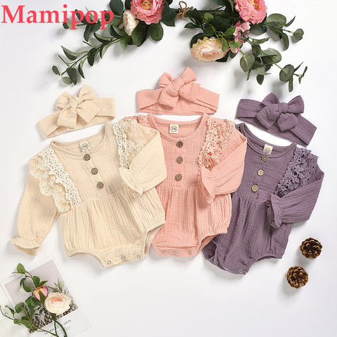 Infant Long Sleeve Solid Color Lace Romper  Headbands New Fashion Clothes