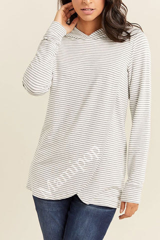 Long Sleeve Striped cross maternity nursing Sweater Hoodie