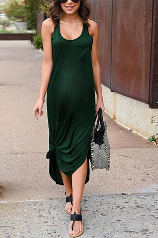 Maternity Casual Pure Color Sling Dress