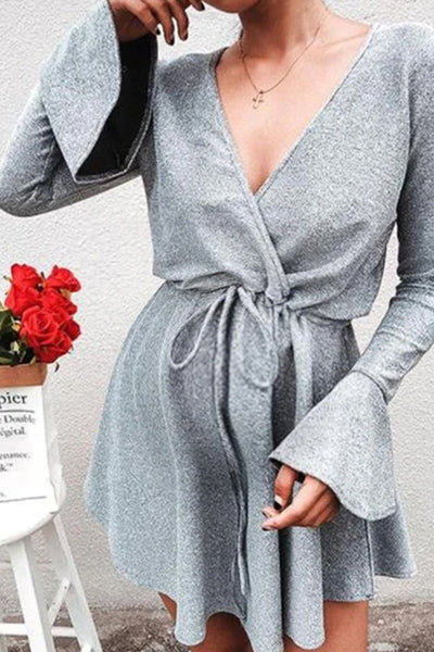 Maternity Fashion Round Neck Pure Colour Ruffled Dress