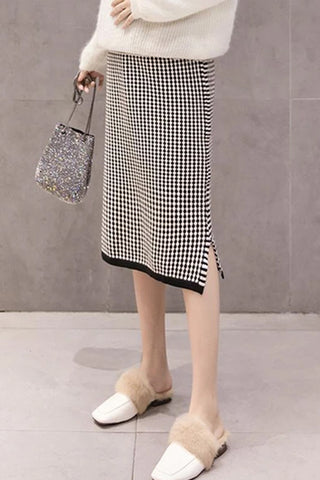 Maternity Casual Houndstooth Loose Knit Skirt