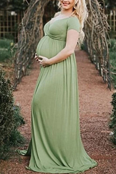 Maternity Casual Pure Color V Neck Dress