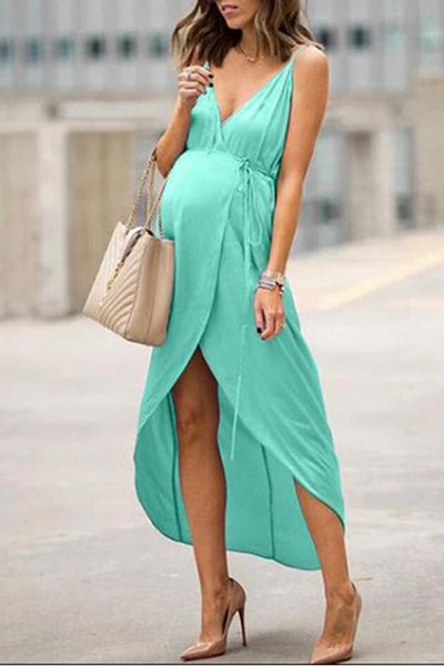 Maternity Casual Pure Colour Belted Dress