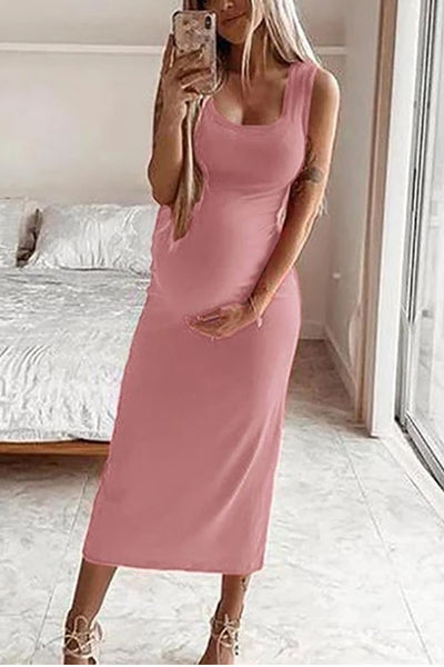 Maternity Casual Round Neck Sleeveless Pure Colour Dress