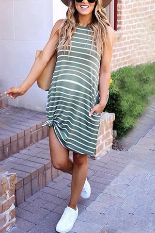 Maternity Casual Striped Sleeveless Dress