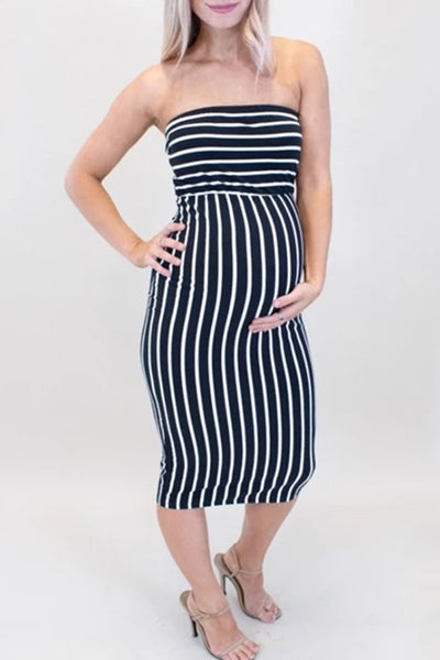Maternity Casual Tube Top Black And White Striped Slim Dress