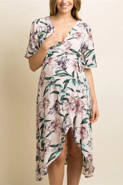 Maternity Casual V Neck Floral Printed Asymmetric Hem Dress