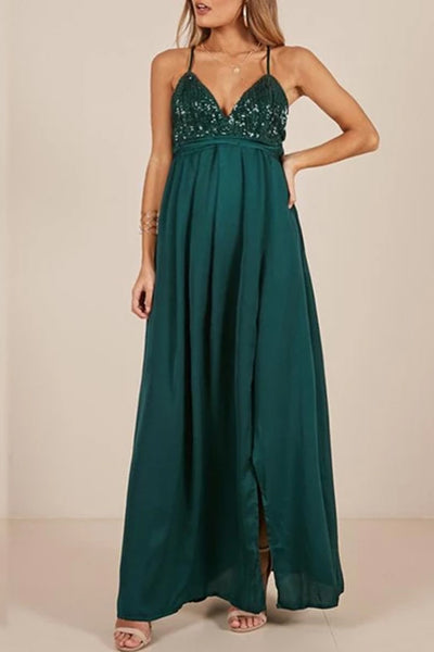 Maternity Deep V-Neck Solid Color Evening Dress
