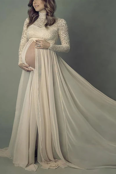 Maternity Elegant High Collar Lace Long Sleeve Dress
