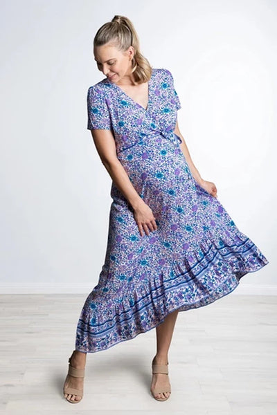 Maternity Elegant V-Neck Floral Short Sleeve Ruffled Irregular Dress
