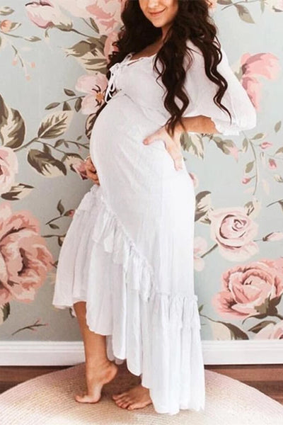 Maternity Fashion solid ruffled hem mid sleeve long dress