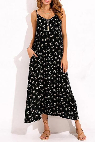Maternity Floral Print Condole Belt V-Neck Maxi Dress