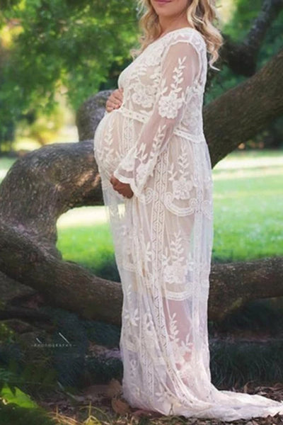 Maternity Hollow Out And Hook Flower Lace Dress