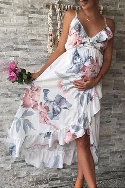 Maternity Irregular Ruffle Hem Cami Dress