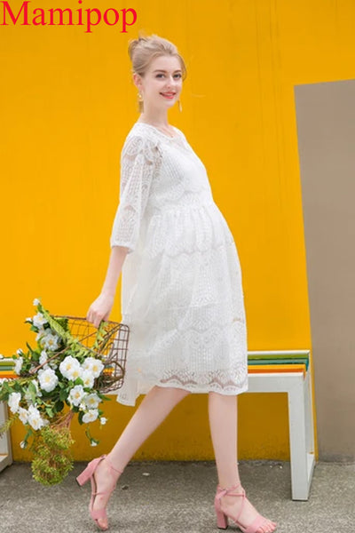 Maternity  Pregnant Women Fashion Casual O Neck Hollow Out Lace Dress