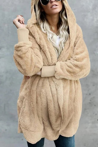 Maternity Pure Color Long Sleeve Hooded Cardigan