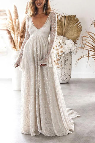 Maternity Sexy Deep V Solid Color Long Sleeve Open Back Dress
