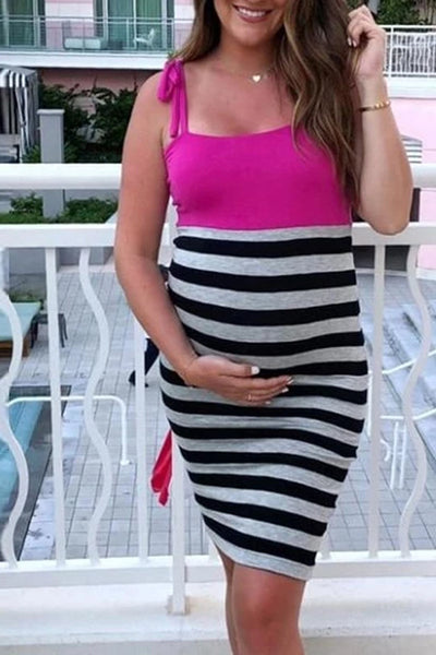 Maternity Sexy Sling Bow Backless Dress
