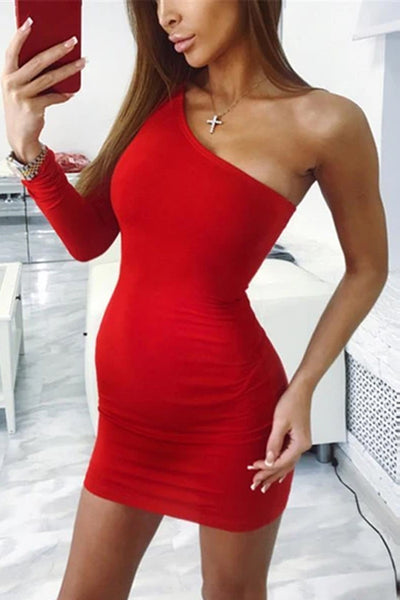 Maternity Slanted Shoulder Long Sleeve Bodycon Dress
