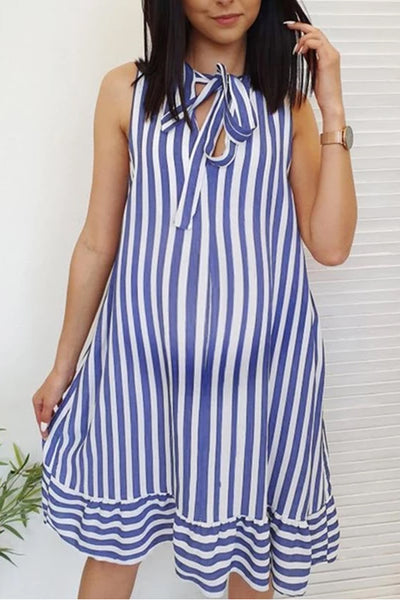Maternity Sleeveless Stripe A-Line Above Dress