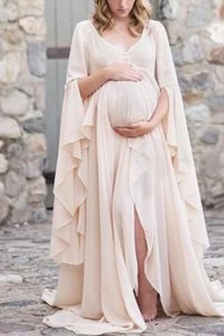 Maternity Slit Pure Color Dress
