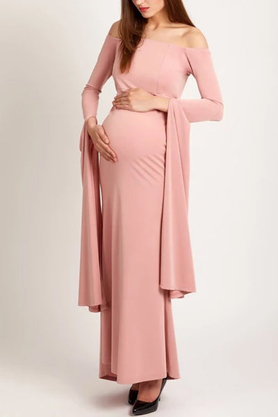 Maternity Solid Color Off Shoulder Long Sleeve Gown